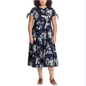 NWT Chaps floral navy blue long dress size 2X